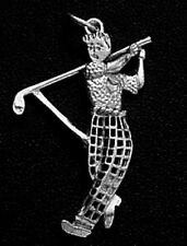 LOOK Golfer Sterling Silver Sports Golf Player Pendant Charm