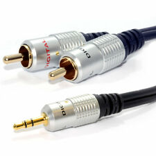 3m HQ OFC 3.5mm Stereo Jack to 2 Phono Plugs Cable Gold