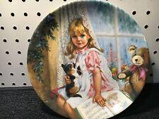 Reco Knowles 1989 Rain Rain Go Away Plate. John McClelland #564. Girl & Cat
