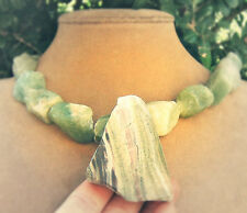 ARCHAEN BUTTERSTONE RAW PENDANT JADE CHUNKY BIG NECKLACE GREEN LAVENDER MINT GEM