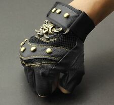 Men's Skull Stud Biker Punk Driving Motorcycle Fingerless Leather Gloves LB05