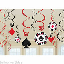 12 Assorted Casino Party Playing Card Poker Hanging Cutout Swirls Decorations