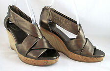 Cole Haan Air Delfina Metallic Bronze Wedge Espadrille Back Zip Sandals