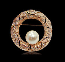 18K LARGE ROSE GOLD PLATED AND GENUINE SWAROVSKI CRYSTAL & PEARL ROUND BROOCH