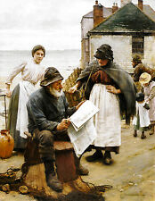 Old Masters reprint (v1f200)  When The Boats Are Away by Walter Langley