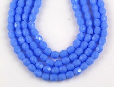 100pcs/3mm Opaque Light Blue Round Faceted Fire Polished Czech Glass Beads