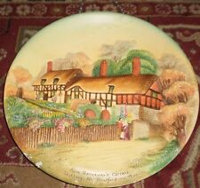 1950's W.H. BOSSONS Large Chalkware WALL PLATE PLAQUE (ANNE HATHAWAY'S COTTAGE)