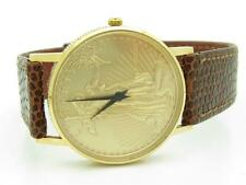 Pre-Owned Vintage Solid 14kt Yellow Gold Lady Liberty Coin Brown Leather Watch
