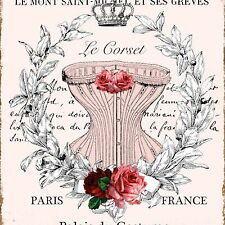 LE CORSET Ceramic Knob PARIS Crown French Words Drawer Pull Rose Wreath Laundry