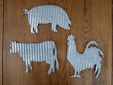 SET Corrugated Metal PIG ~ COW ~ ROOSTER Farmhouse Barnyard Primitive WALL SIGNS