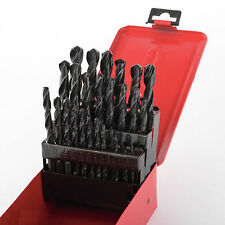 29pc Drill Bit Set High Speed Bits Steel Drill Bits w/ Metal Index Box New