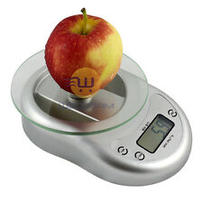 Digital Kitchen Scale Diet Food Weighing Balance Clock Silver 5Kg 1g