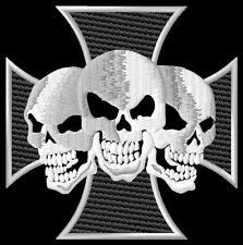 Cross 3 Skulls iron-on Aufnäher patch