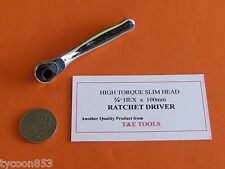 "MICRO SLIM HEAD RATCHET WRENCH 1/4"" HEX DRIVE x 100mm Lg T&E TOOLS DALLAS"