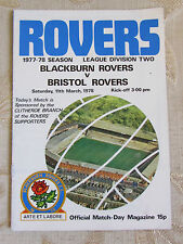 The Official Match Day - Magazine Of Blackburn Rovers & Bristol Rovers 1978