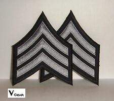 Sergeant Seargent SGT Chevron Patch 1 Pair 2 Patches Black Gray / Silver