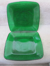"""Vintage Anchor Hocking Forest Emerald Green Charm 2 Square 8 3/8"""" Plates EUC"""