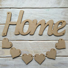 MDF Wood HOME Hanging Plaque with Hearts Sign Craft Shape Blank HOME with HEARTS