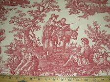 "~25 YDS~WAVERLY~""COUNTRY LIFE"" GARNET~TOILE DRAPERY UPHOLSTERY FABRIC FOR LESS~"
