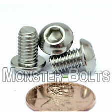 6mm x 1.00 x 10mm - Qty 10 - A2 Stainless Steel BUTTON HEAD Screws  M6-1.0 x 10