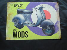 Mods Scooter We Are The Mods Brighton Large Metal Sign-Car -Tin Steel retro Bike