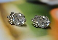 18KGP White Gold Clear AAA CZ Cubic Zirconia Stone Crown Stud Earrings