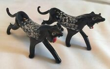 Pair Of Vintage Art Glass Black Panther Cat Figurines