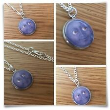 Emoji face Grey moon Grin eyes smile Charm pendant necklace txt geek