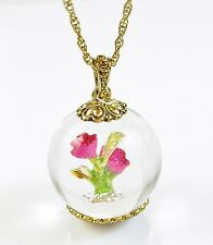 BETSEY JOHNSON 'Bauble' Glittery Pink Rose Flower Globe Pendant Long Necklace