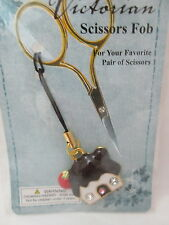 Victorian Scissors FOB Enameled House Charm - White with Brown Roof