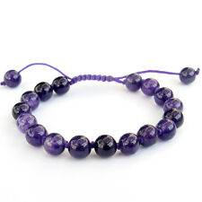 8mm Purple Jade Gem Tibet Buddhist Prayer Beads Mala Bracelet-Knot Between Beads