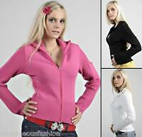 New Sexy Ladies Womens Sweater Front Zip Cardigan Top S/M/L UK size 8/10/12