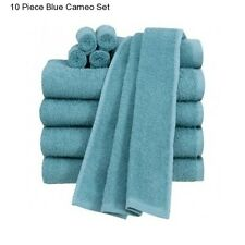 New Blue Cotton 10 Piece Bath Towel Set Washcloth Bathing Bathroom Hand Towels