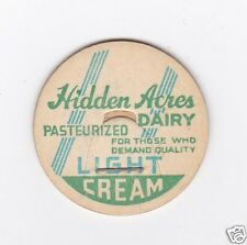 MILK BOTTLE CAP. HIDDEN ACRES DAIRY. MAVERICK.