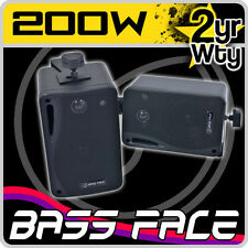 Bass Face Pair 200w Marine Boat 3 Way Waterproof Box Speakers System Package