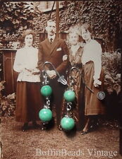 Art deco mint green Peking glass EARRINGS to match retro beads necklaces .925