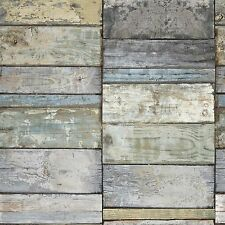 NEW GRANDECO IDECO WOOD BLOCK FAUX EFFECT REALISTIC PATTERN WALLPAPER A10502