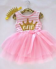 Baby Girl Pink First Birthday Outfit Tutu Dress Glitter Crown Headband One 12M