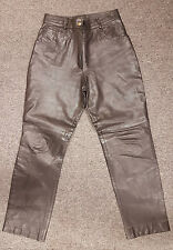 #657 Ladies Black Quality Leather Biker Style Pants, Large