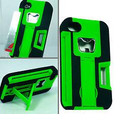For Apple iPhone 4 KICKSTAND Case Bottle Opener Card Holder Green Black