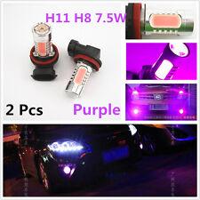 2 Pcs Purple Pink H8 H11 H9 7.5W LED Lens Headlight Running DRL Fog Lights Bulbs
