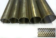 """2.5"""" 63mm 12"""" 300mm Long Perforated Stainless Steel Exhaust Repair Tube Pipe"""