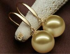 AAA 16mm natural Australian south sea golden shell pearl earrings 14K solid gold