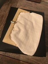 Vintage Woven Coated Linen Straw Clutch Bag Purse w/Light Wood Frame - Italy
