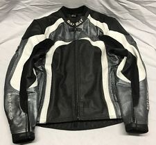 BILT RACING Gun Metal Gray/black Leather Motorcycle Jacket With Armor Size 38