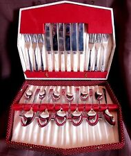Vintage 1950's 24 Piece Stainless Steel Cutlery Canteen/Set in Box: Very Good
