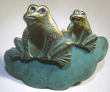 Golden Frogs on Turquoise Lily Pad Pin Rhinestone Eyes Brooch