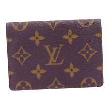 Auth Louis Vuitton Vertical Bifold Pass Card Case Monogram Brown M60533 07U032