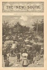 Marketplace, Georgia Village In Cotton Season, Vintage 1887 Antique Art Print