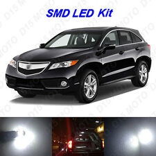 14 x White LED Interior Bulbs + License Plate Lights for 2013-2016 Acura RDX